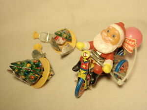 Lot 3 Vintage Tin Litho Toys: Push Toy Christmas Tree Spinner amp; Santa on Bicycle