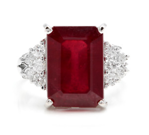 13.60 Carats Natural Red Ruby and Diamond 14K Solid White Gold Ring