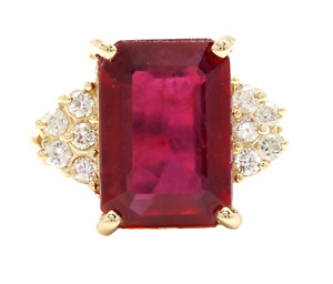 12.60 Carats Natural Red Ruby and Diamond 14K Solid Yellow Gold Ring