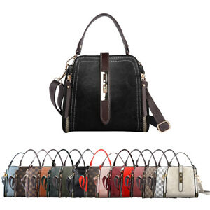 Women Shoulder Bag Satchel Small Checkered Handbag Bucket Purse Crossbody Tote