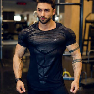 T shirt Men Compression Quick Dry Shirts Sports Running Gym Fitness Workout Tops $17.79