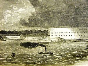 Fort Pickens Florida CONFEDERATE BATTERIES Fort McRae1861 Antique Print Matted $28.00