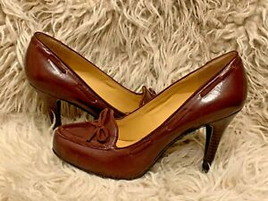 9 West Leather Ghita Almond Toe Loafer Heels Brown Stacked Heel Womens Size 8 $14.95