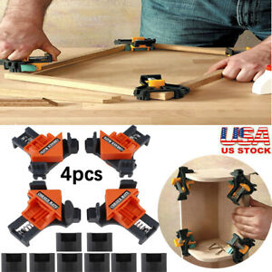 4PCS 90 Degree Right Angle Clip Clamps Corner Holder Woodworking Hand Tool Set $13.99