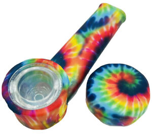 Silicone Smoking Pipe with Glass Bowl Cap Lid Tie Dye Pipe USA $7.99