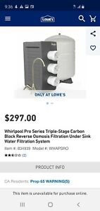 Whirlpool Pro Series Triple Stage Carbon Block Reverse Osmosis Filtration System $100.00
