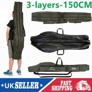 Fishing Storage Bag Canvas Folding Rod Tackle Tools Bag Portable Carrier Pack US