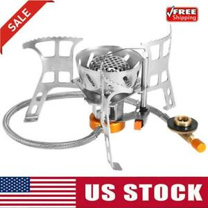 Outdoor Camping Gas Stove Windproof Cooking Stove Foldable Split BurnersAdapter