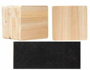 Unfinished Square Wood Coasters with Non Slip Foam Dot 3.7 x 3.7 In 12 Pack $19.42