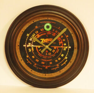 Old Antique Style Zenith Black Dial Wall Clock Vintage Wood Tube Radio Style