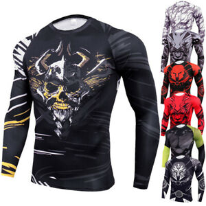 Mens Cool Dry Fit Athletic Compression Long Sleeve Baselayer Workout Gym Tee $15.18