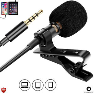 Lav Mic Microphone for Phone Clip on Lavalier Lapel Microfono Para Youtube $8.97