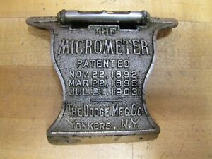 THE MICROMETER DODGE Mfg Co YONKERS NY Antique Scale Gauge Level Tool Sign Part $99.00