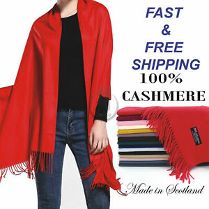 Solid Scarf 100% Cashmere made in Scotland Oversized scarves Shawl Wrap $11.99