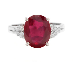 6.60 Carats Red Ruby and Diamond 14K Solid White Gold Ring
