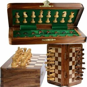 Vintage Wooden Chess Set Wood Board Hand Carved Crafted Pieces Folding Game 10 $44.94