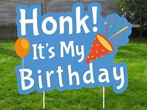 Honk Its My Birthday Yard Sign with Stakes Waterproof Lawn Decoration for Happy $20.99