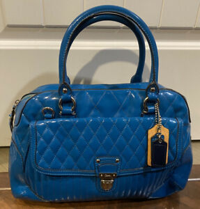 COACH Turquoise Glossy Patent Leather Embossed Signature Handle Tote Bag Purse