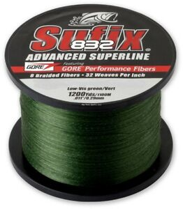 Sufix 832 Advanced Superline Lo Vis Green 1200 Yard Spool Choice of Strength