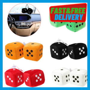 Car Home Fuzzy Furry Hanging Mirror Soft Plush Fluffy Hang HOT Spotty Lucky Dice