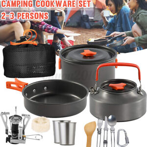 Portable 14pcs Set Camping Cookware Mess Kit Backpacking Outdoors Cook Pot Bowl