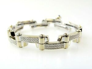 Charriol Diamond Bracelet 18K White Gold Limited Edition Pave Links 7.5quot; Long