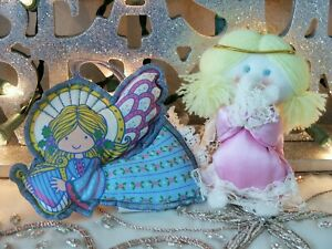 Vintage 1978 1984 Hallmark Blue amp; Pink Fabric Cloth Girl Angel Material Lace $9.95