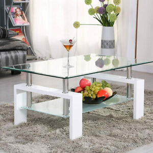 Rectangular Glass Coffee Table Modern Shelf Wood Living Room Furniture White $75.04