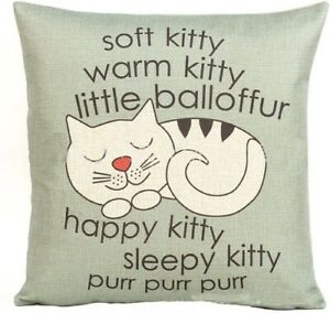 Big Band Theory Happy Sleepy Kitty Cotton Linen Throw Pillow 18 x 18 Cover purr