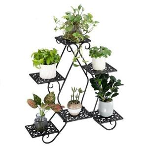 6 Tier Metal Outdoor Indoor Pot Plant Stand Garden Decor Flower Rack Holder $38.99
