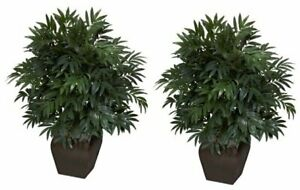 6718 35in. Double Bamboo Palm with Decorative Planter Silk PlantGreen $104.91