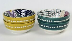 Set of 4 Anthropologie Polka Dots Pair Floral Cereal Bowls Green Blue Yellow $49.99