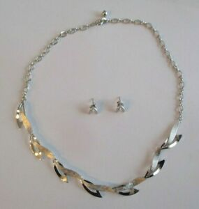Vintage Sterling Silver 925 Signed Van Dell Leaf Necklace Post Earrings Set $38.00