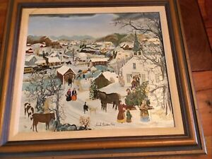 SIGNED and NUMBERED WILL MOSES Church Christmas Tree On Canvas lithograph $425.00