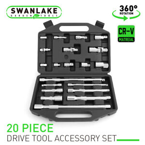 20Pc Drive Extension Bar Set Socket Wrench1 4 3 8 1 2 universal joint coupler
