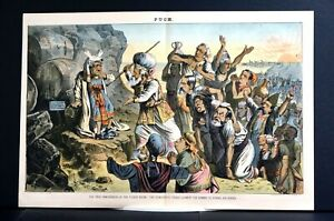 Democratic Tribes 1884 SAMUEL TILDEN as MOSES at DESERT MOUNT NY DEMOCRACY Puck $95.00