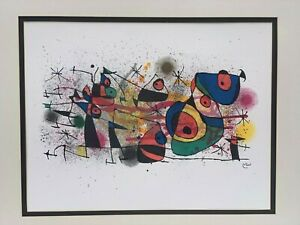 Nice Joan Miro Signed Rich Color Original Lithograph Abstract Modern Art Framed $450.00