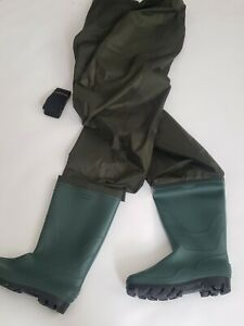 Rospick Full Chest w Boots Waterproof PVC Fishing Waders Fly Fishing Sz 12