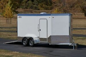 IN STOCK 7 X 14 V Nose Premium Enclosed Cargo Motorcycle Trailer 1950lbs EMPTY