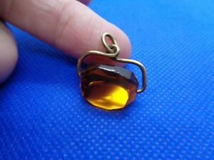 ANTIQUE VICTORIAN ROLLED GOLD CITRINE PENDANT FOB GBP 20.00