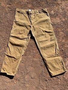 Vtg CARHARTT B01 BRN Brown Dungaree DOUBLE FRONT Duck Canvas Work Pants 46 X 32