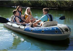 Intex Excursion 4 Person Inflatable Rafting Fishing Boat Set with 2 Oars amp; Pump