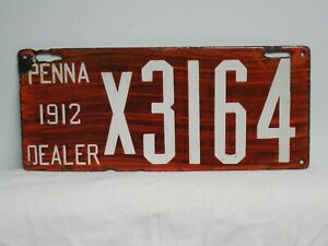 1912 Pennsylvania Porcelain Dealer License Plate PENNA PA $279.00