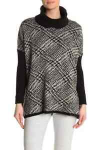 Joseph A Oversized Black Print Sweater NWT $78 Sze XS Ivory Pullover Solid Trim $19.99