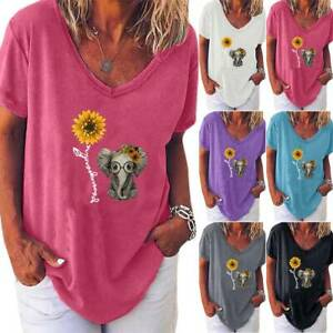 Womens Sunflower Elephant Printed Short Sleeve V Neck T Shirt Casual Tunic Tops $15.67