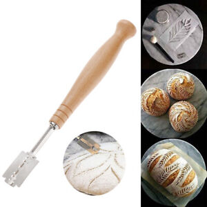 Wooden Handle Pastry Cutting Bread Cutter Scoring Razor Tool KitchenDining