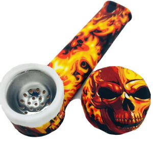 Silicone Smoking Pipe with Metal Bowl Cap Lid Fire Skulls $7.99