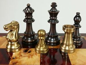 BRASS METAL Antique Bronze And Brushed Gold Staunton Frenc Chess Men Set NO BOAR $145.00