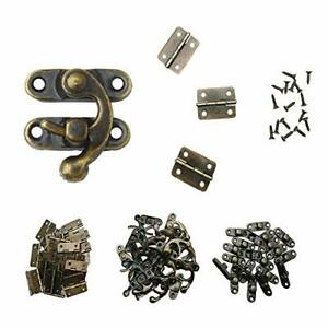 40pcs Small Box Hinges 20 Sets Antique Right Latch Hook Hasp Wood Jewelry Catch $16.05