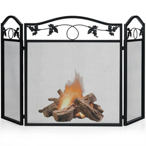 Folding Steel Fireplace Screen Doors 3 Panel Heavy Duty Home Furniture Decor NEW $53.99